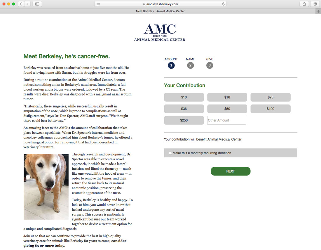 Animal Medical Center Contribution Page
