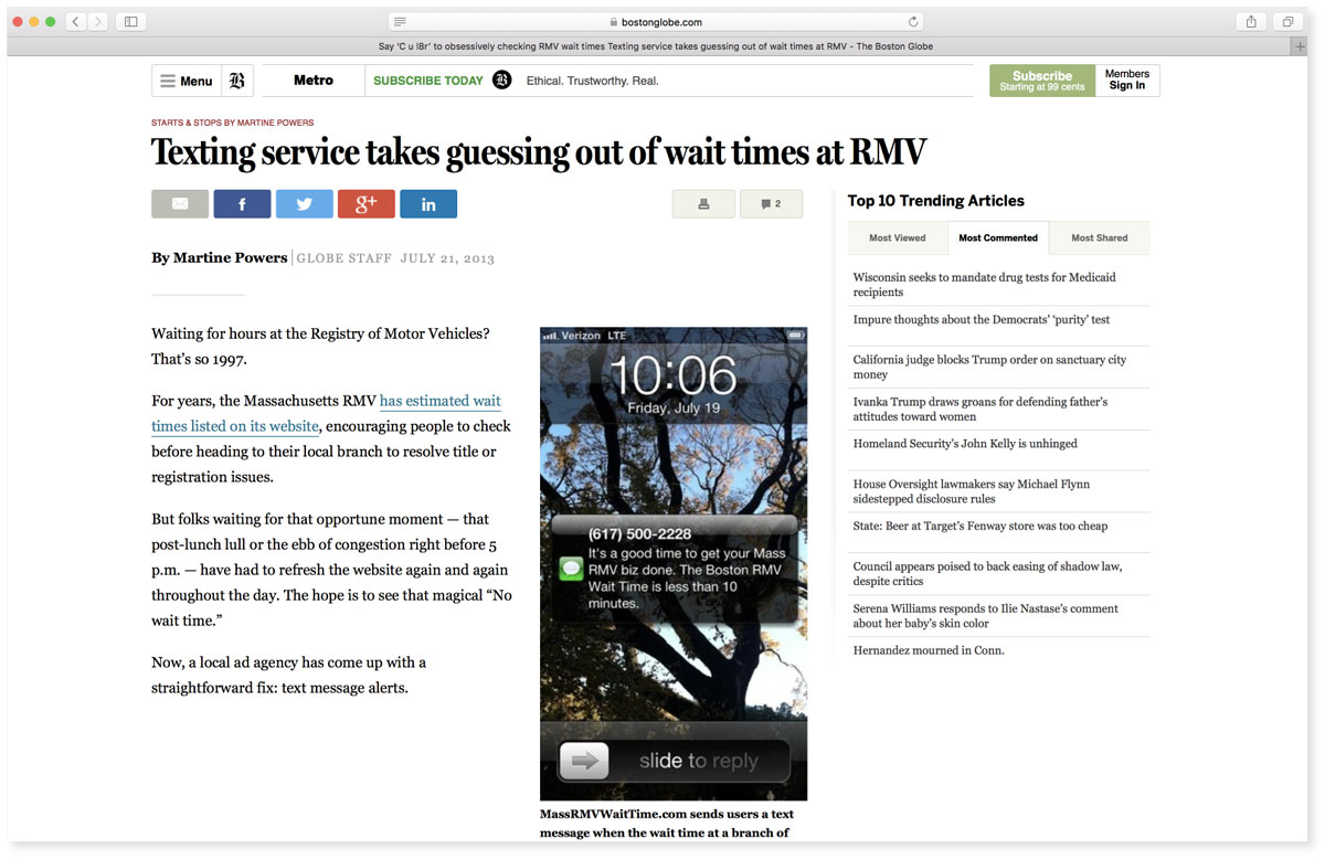 RMV Wait Time Boston Globe Article